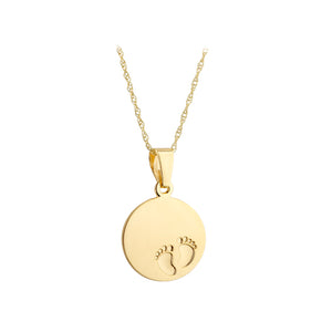 9ct yellow gold baby feet disc necklace