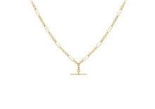 Load image into Gallery viewer, 9ct Gold 18'' Figaro Beclcher with T-Bar Necklace