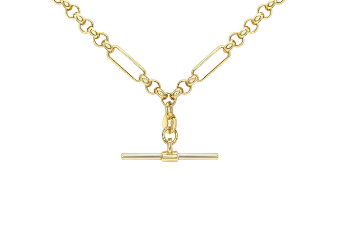 9ct Yellow Gold Figaro Belcher T-Bar Necklace