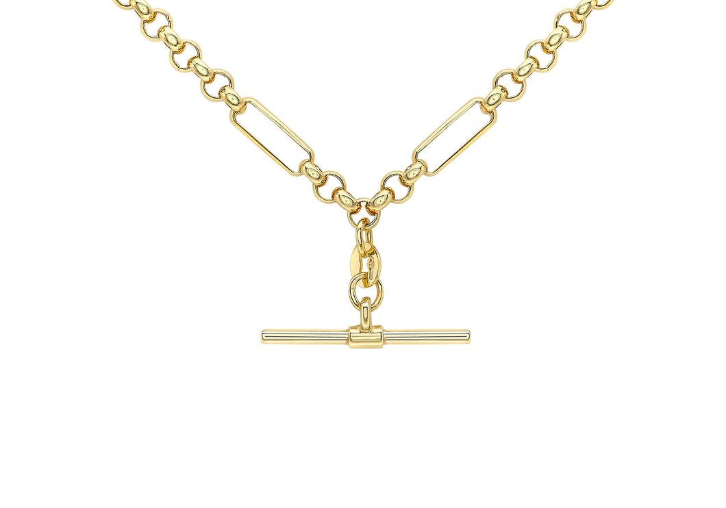 9ct Gold 18'' Figaro Beclcher with T-Bar Necklace