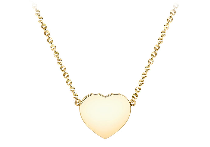 9ct Yellow Gold Plain Polished Heart Necklace