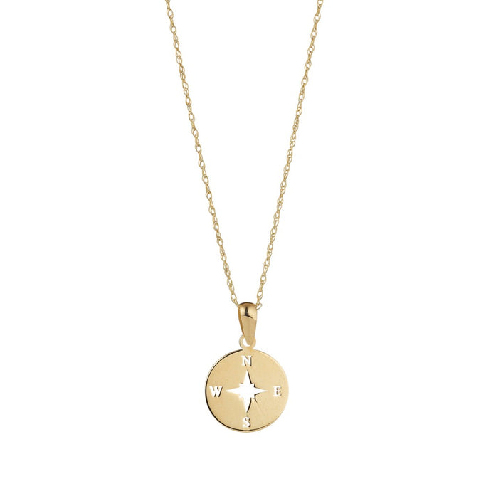 9ct Yellow Gold Cut Out Compass Pendant And Chain