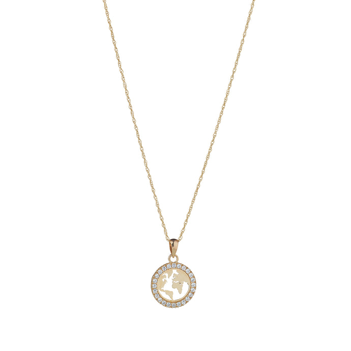 9ct Yellow Gold World Pendent with Cubic Zirconia Trim