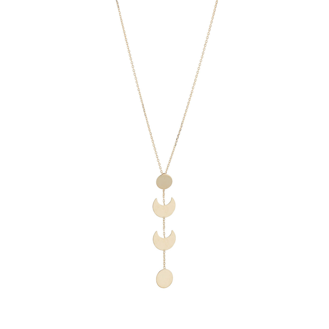 9ct Yellow Gold Drop Plain Moon And Disk Drop Pendant And Chain
