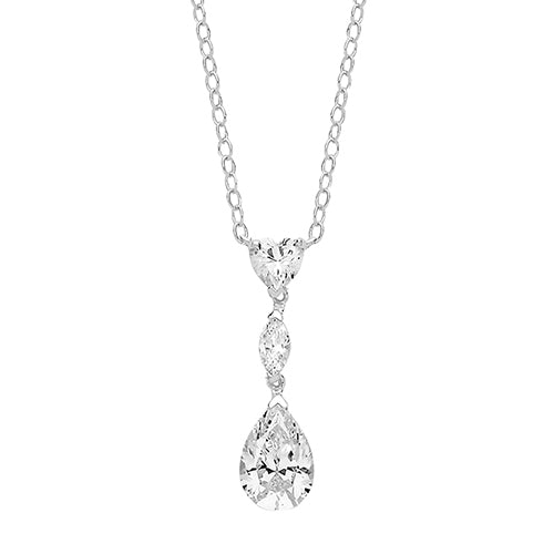 Silver Heart Marquise & Large Pear CZ Pendant On Fixed Chain