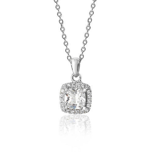 Silver Claw Set Cushion Halo Style CZ Pendant + Chain