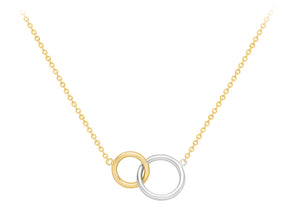 9ct Two Colour Gold Interlocking Circles Necklace