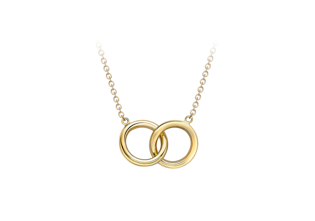 9ct Yellow Gold Double Circles Interlocking Pendant And Chain
