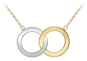 9ct Yellow And White Plain Intertwined Circles Pendant And Chain