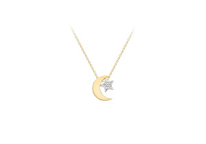 9ct Two Colour Gold Moon and Star Necklace
