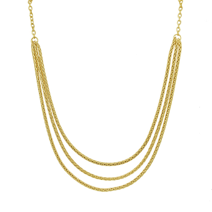9ct Yellow Gold Three Row Spiga Necklace