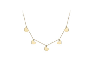 9ct Yellow Gold 5 heart Adjustable Necklace