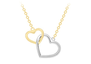 9ct Gold TwoTone Interlocked Hearts Necklace