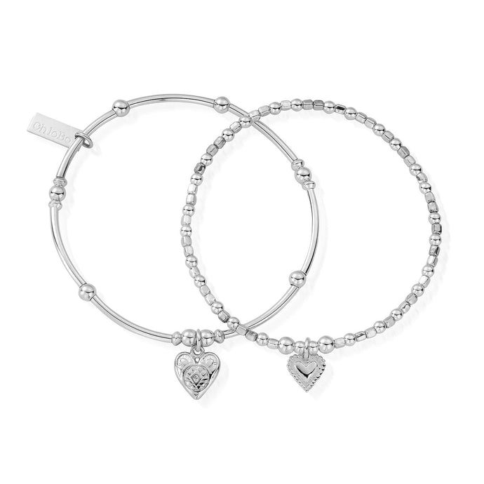 ChloBo Compassion set of Two Hearts Bracelet