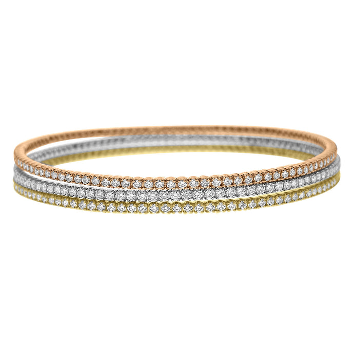 18ct Yellow Gold Single Line Diamond Bangle