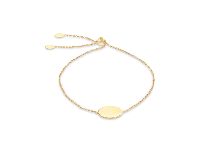 9ct Yellow Gold Adjustable Bracelet With Plain Disc