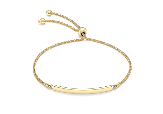 9ct Yellow Gold Adjustable ID Bar Bracelet