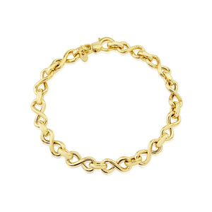 9ct Yellow Gold Infinity Link Bracelet
