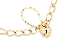 Load image into Gallery viewer, 9ct Yellow Gold Heart Padlock Chain Bracelet