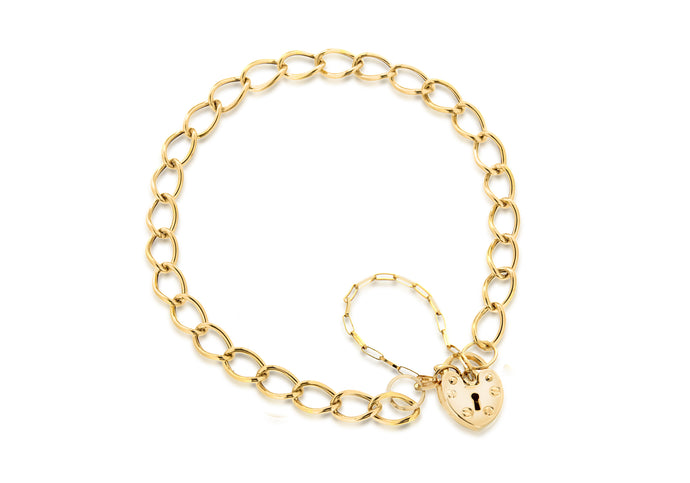 9ct Yellow Gold Heart Padlock Chain Bracelet