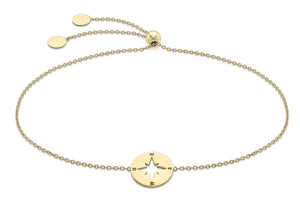 9ct Yellow Gold Compass Disk with Adjustable Bracelet