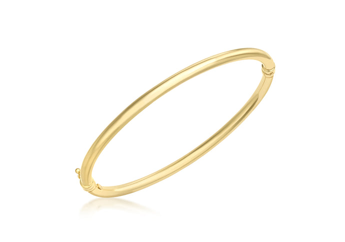 9ct Yellow Gold Oval Tube Hinged Bangle
