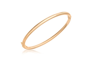 9ct Rose Gold Plain Oval Hinged Bangle