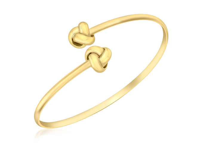9ct Yellow Gold Crossover Knot Torque Bangle