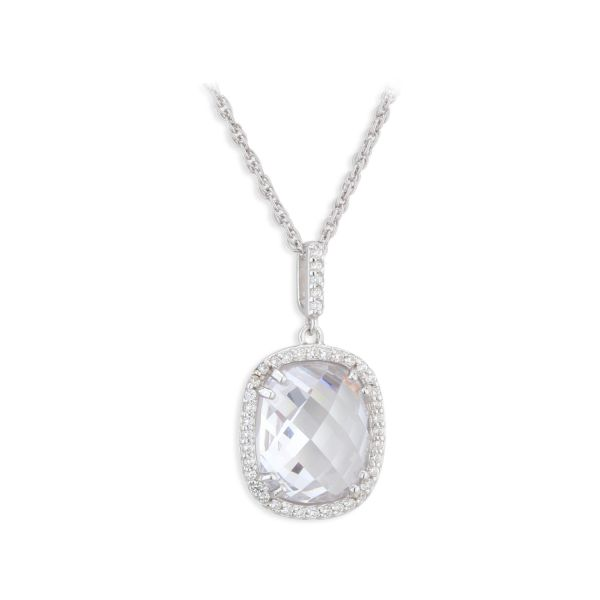 Paul Costelloe Sterling Silver Cushion Pendant with CZ Halo