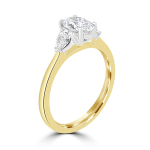 18ct Yellow Gold Three Stone Oval and Pear Cut Diamond Ring