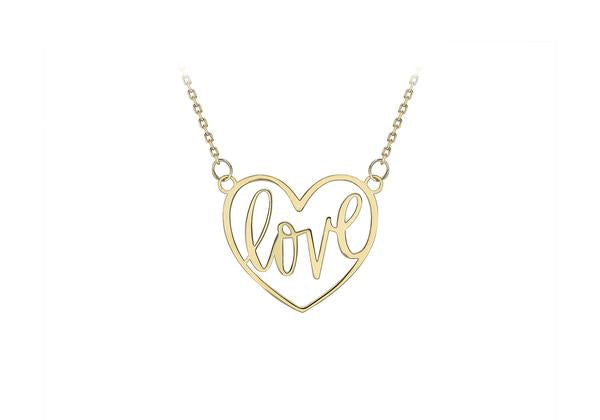 9ct Yellow Gold 'LOVE' Heart Necklace (Large)