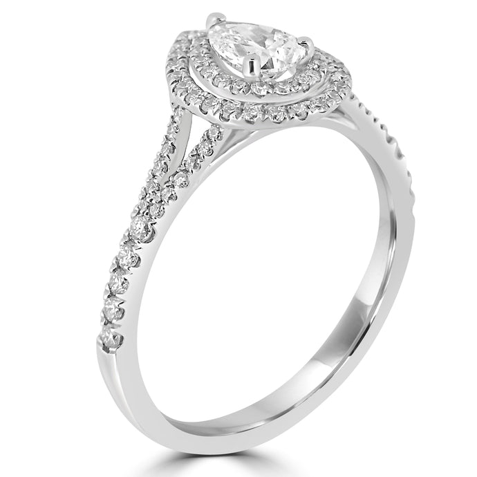 Double halo with pear cut diamond and split diamond set shoulders