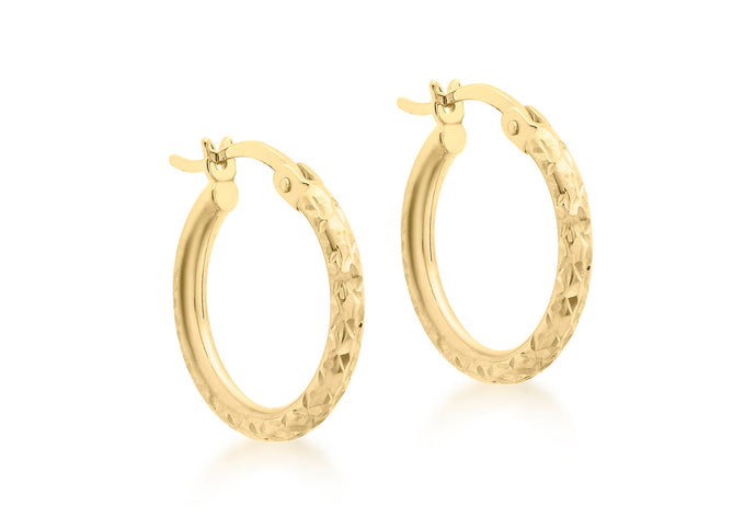 9ct yellow gold 16mm Diamond cut round Creole earrings