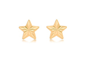 9ct Yellow Gold Diamond Cut Star Earrings