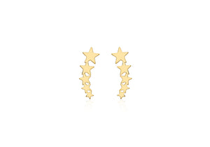 9ct Yellow Gold 5 x 15.5mm Graduated 5-star stud earrings