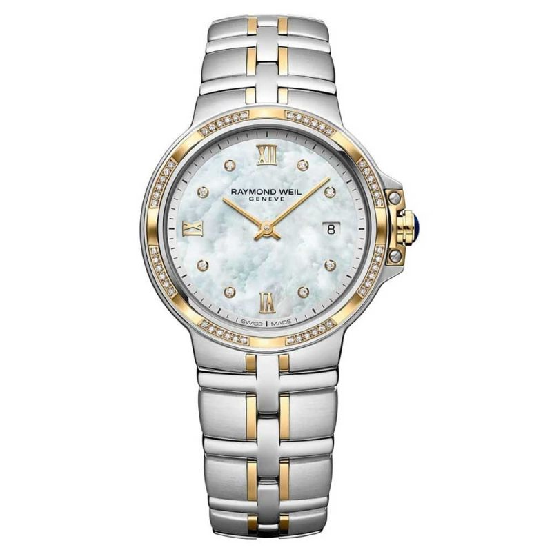 Parsifal Steel and Yellow Mother of Pearl Diamond Watch, 30mm