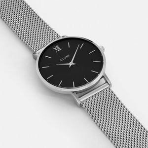 Cluse Minuit Mesh Silver Black/Silver watch
