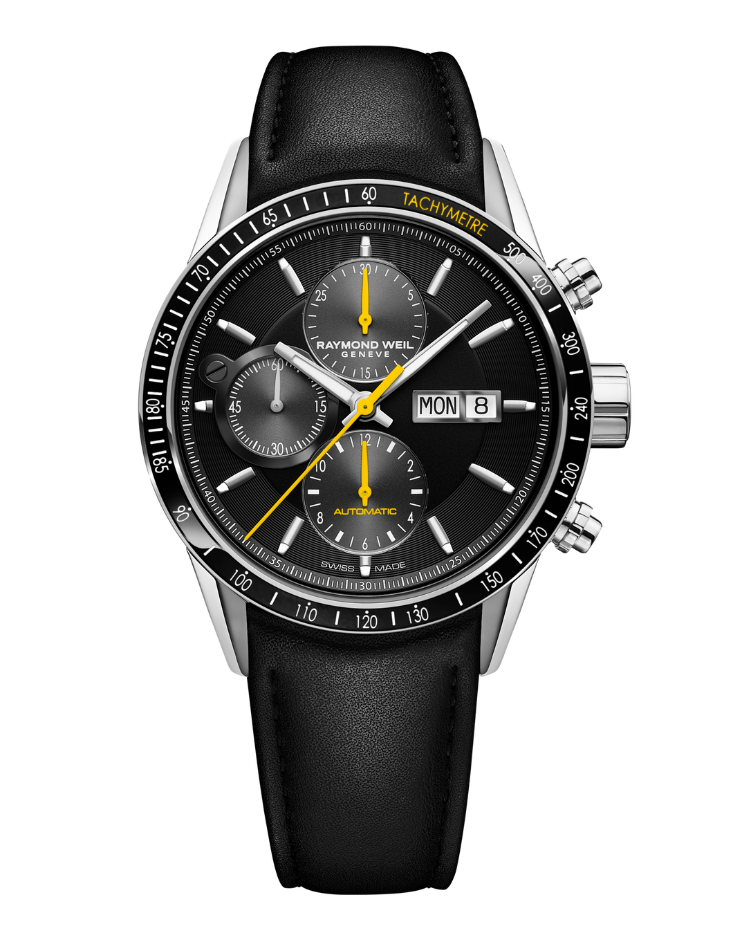 Raymond Weil Freelancer Men's Automatic Chronograph Black Yellow Leather Watch