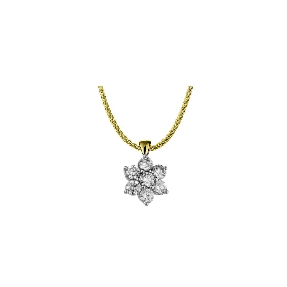 18ct yellow gold 0.55ct diamond flower cluster pendant