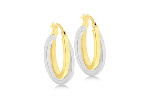 9ct Two Tone Oval Crossover Creole Earrings