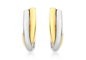 9ct Two Tone Yellow and White Gold Huggy Earrings
