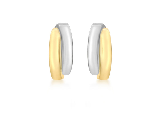 9ct Two Tone Yellow and White Gold Crossover Stud Earrings