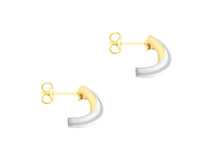 Load image into Gallery viewer, 9ct Two Tone Yellow and White Gold Crossover Stud Earrings