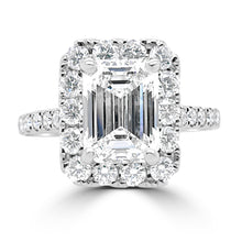 Load image into Gallery viewer, 18ct White Gold Emerald Halo Diamond Shoulders