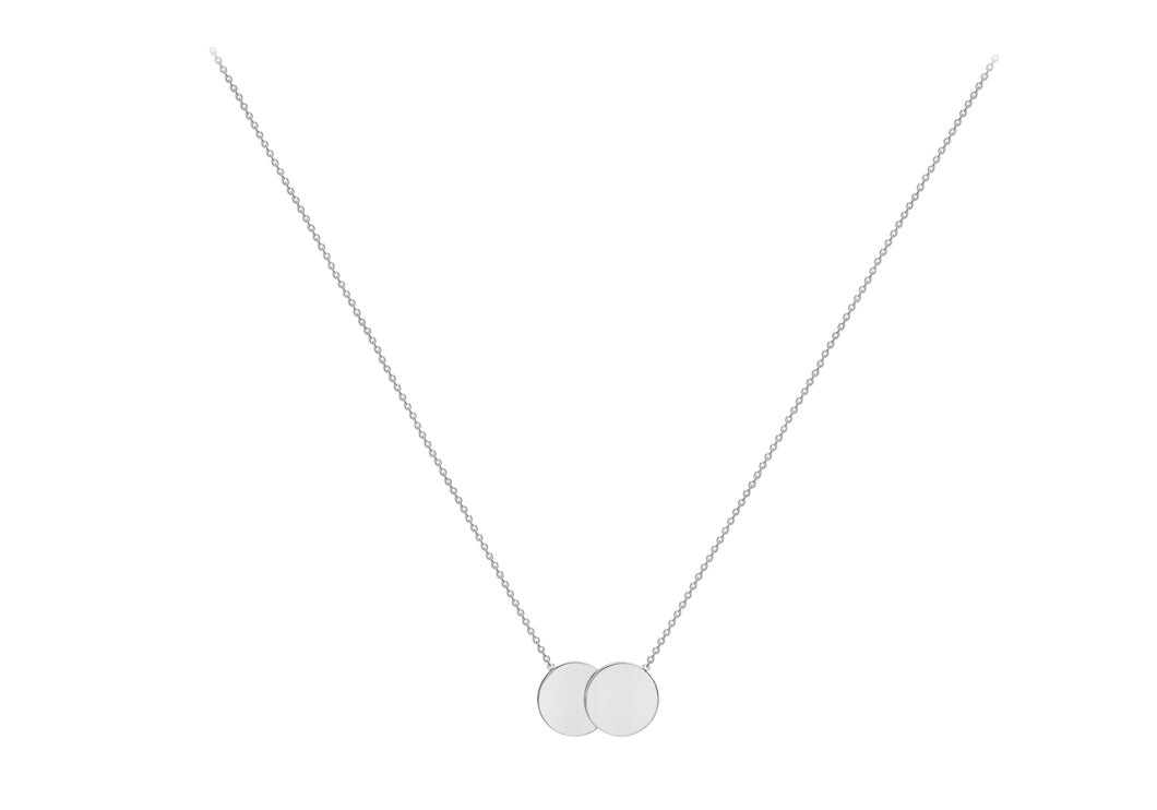 9ct White Gold Double Disk Adjustable Necklace, engravable.