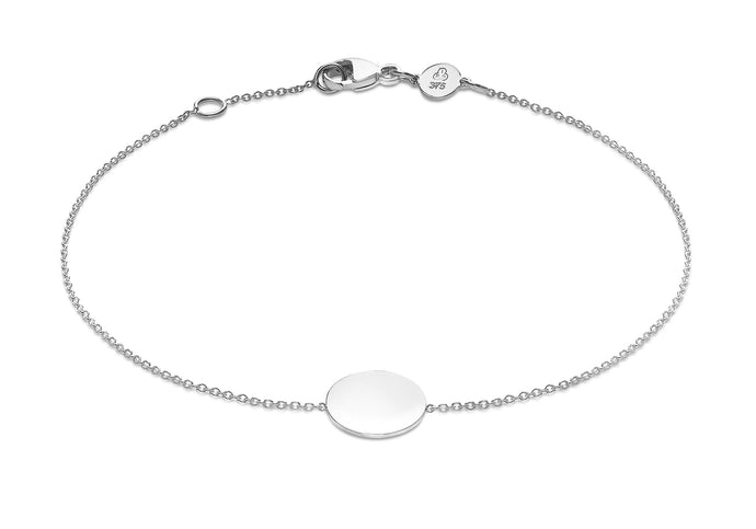 9ct White Gold Disc Adjustable Bracelet