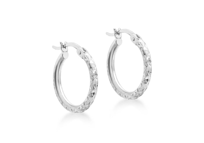 9ct White Gold Diamond Cut Creole Earrings