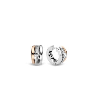 Ti Sento Two Tone Rose and Sterling Silver Earrings