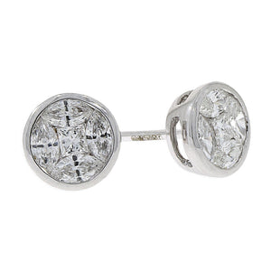 18ct White Gold 0.55ct Diamond Cluster Stud Earrings