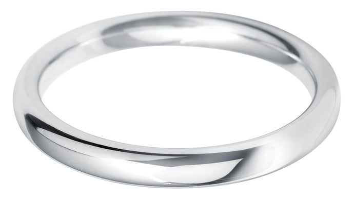 Classic medium court 2.5mm wedding ring with comfort fit in Platinum Ladies £495, Gents £640